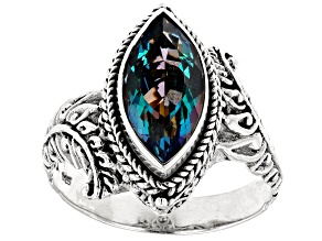 Pre-Owned Green Odyssey Calypso™ Mystic Quartz® Silver Ring 3.03ctw