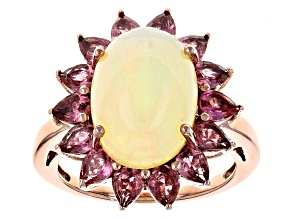 Pre-Owned Ethiopian Opal 14k Rose Gold Ring 4.17ctw