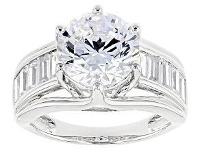 Pre-Owned White Cubic Zirconia Rhodium Over Sterling Silver Ring 8.18ctw