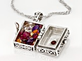 Pre-Owned Red Garnet Sterling Silver Prayer Box Pendant With Chain 2.43ctw.