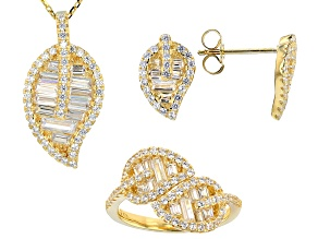 Pre-Owned White Cubic Zirconia 18k Yellow Gold Over Sterling Silver Jewelry Set 3.68ctw