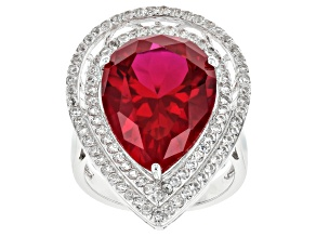 Pre-Owned Red lab ruby rhodium over sterling silver ring 11.73ctw