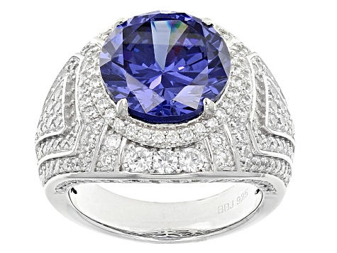 Pre-Owned Blue And White Cubic Zirconia Silver Ring 12.52ctw