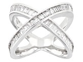 Pre-Owned White Cubic Zirconia Rhodium Over Sterling Silver Ring 3.13ctw
