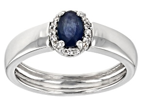 Pre-Owned Blue Kanchanaburi sapphire sterling silver ring .56ctw
