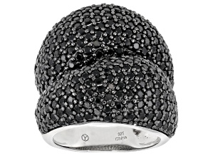 Pre-Owned Black Spinel Rhodium Over Sterling Silver Ring 7.00ctw