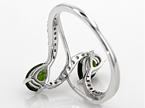 Pre-Owned Green Russian Chrome Diopside Sterling Silver Bypass Ring 1.12ctw