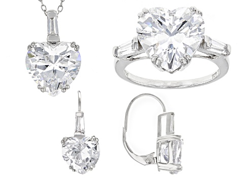 Pre-Owned White Cubic Zirconia Rhodium Over Sterling Silver Jewelry Set 33.00ctw