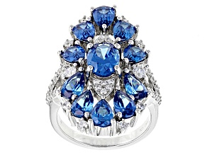 Pre-Owned Blue And White Cubic Zirconia Rhodium Over Sterling Silver Ring 9.00ctw
