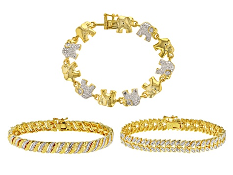 Pre-Owned White Diamond 14k Yellow Gold Over Brass 3 Piece Bracelet Set Diamond Accent