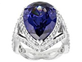 Pre-Owned Blue and White Cubic Zirconia Rhodium Over Sterling Silver Ring 17.82ctw
