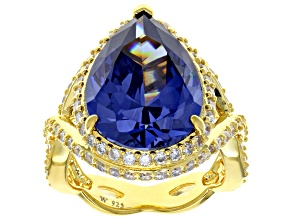 Pre-Owned Blue and White Cubic Zirconia 18k Yellow Gold Over Sterling Silver Ring 17.82ctw