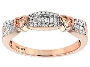 Pre-Owned Engild™ White Diamond 14k YG over Sterling Silver Ring .20ctw