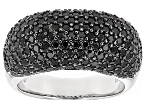 Pre-Owned Black Spinel Rhodium Over Sterling Silver Ring 3.28ctw