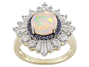 Pre-Owned White Ethiopian Opal 10k Yellow Gold Ring 2.83ctw