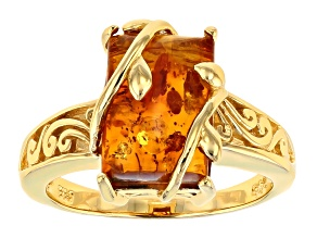 Pre-Owned Orange Amber 18k Yellow Gold Over Sterling Silver Ring