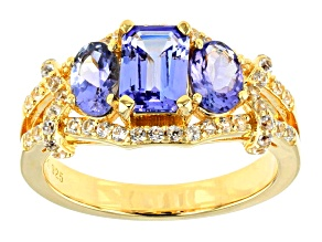 Pre-Owned Blue tanzanite 18k yellow gold over silver ring 2.15ctw