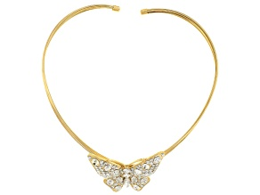 Pre-Owned White Crystal Gold Tone Butterfly Statement Necklace