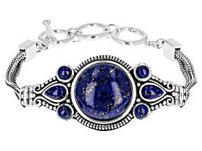 Pre-Owned Blue Lapis Lazuli Sterling Silver Adjustable Bracelet