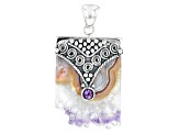 Pre-Owned Purple Amethyst Stalactite Sterling Silver Pendant 0.36ctw