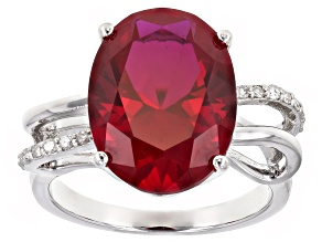 Pre-Owned Red lab created ruby rhodium over silver ring 10.29ctw