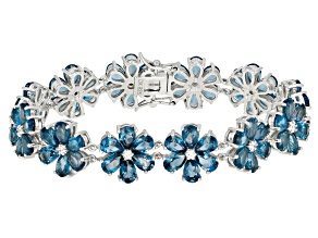 Pre-Owned Blue Topaz Sterling Silver Bracelet 32.51ctw