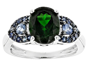 Pre-Owned Green Chrome Diopside Sterling Silver Ring 2.98ctw