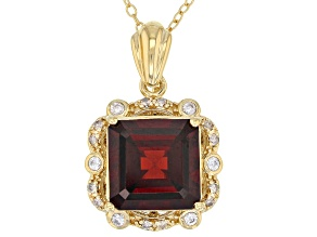 Pre-Owned Red Garnet 18k Gold Over Sterling Silver Pendant With Chain 4.85ctw