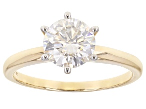 Pre-Owned Moissanite 14k Yellow Gold Solitaire Ring 1.90ct DEW.