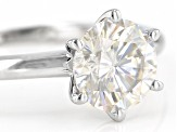 Pre-Owned Moissanite 14k White Gold Solitaire Ring 1.90ct DEW.