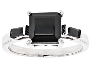 Pre-Owned Black Spinel Rhodium Over Sterling Silver Ring 2.30ctw