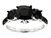 Pre-Owned Black Spinel Rhodium Over Sterling Silver Ring 4.13ctw