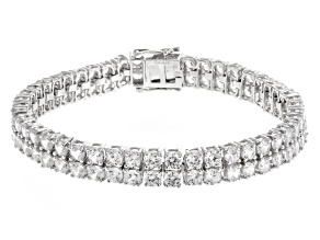 Pre-Owned White Zircon Sterling Silver Bracelet 24.00ctw
