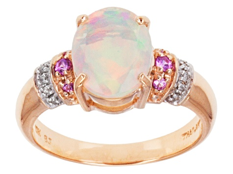 112582626401a Pre-Owned Multi Color Ethiopian Opal 10k Rose Gold Ring 1.41ctw.