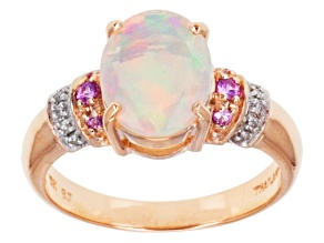 Pre-Owned Multi Color Ethiopian Opal 10k Rose Gold Ring 1.41ctw.