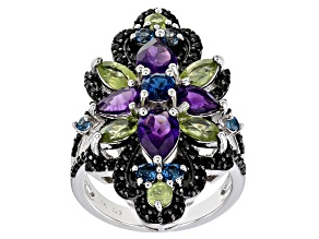 Pre-Owned Purple amethyst rhodium over silver ring 4.56ctw