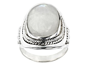 Pre-Owned Multi Color Moonstone Sterling Silver Solitaire Ring