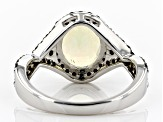 Pre-Owned Multi Color Ethiopian Opal Rhodium Over Sterling Silver Ring 2.46ctw