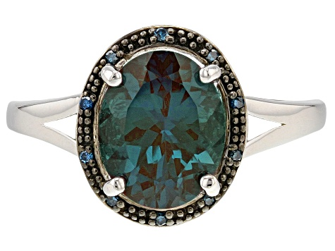 Pre-Owned Blue Lab Created Alexandrite Rhodium Over Sterling Silver Ring 2.65ctw