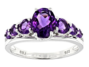 Pre-Owned Purple amethyst rhodium over sterling silver ring 1.65ctw