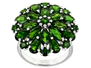 Pre-Owned Green Chrome Diopside Rhodium Over Sterling Silver Cluster Ring 6.34ctw
