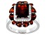 Pre-Owned Red garnet rhodium over sterling silver ring 5.88ctw
