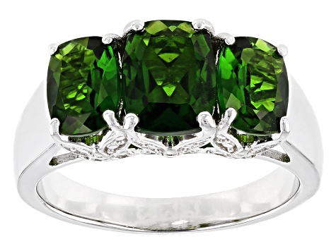 Pre-Owned Green Chrome Diopside Rhodium Over Silver Ring 2.66ctw