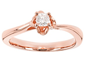 Pre-Owned Moissanite 14k Rose Gold Over Silver Ring .16ct DEW