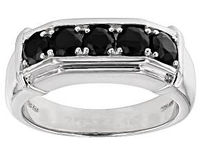 Pre-Owned Black Spinel Sterling Silver Gent's Wedding Band Ring 1.20ctw