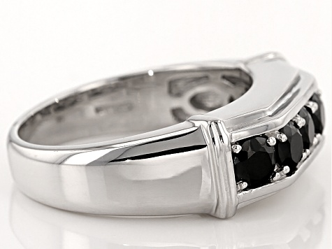 Pre Owned Black Spinel Sterling Silver Gent S Wedding Band