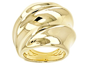 Pre-Owned 18k Yellow Gold Over Bronze Artformed Swirl Ring