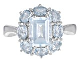 Pre-Owned Blue aquamarine rhodium over sterling silver ring 2.64ctw