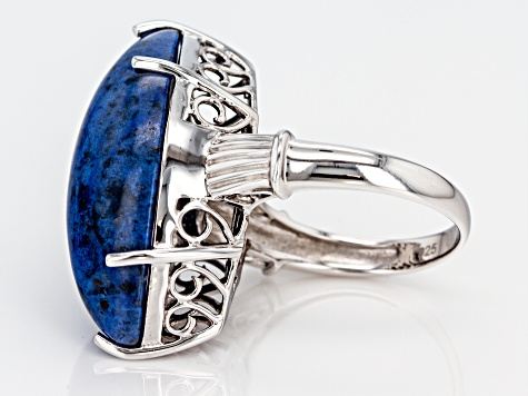 Pre-Owned Blue dumortierite rhodium over silver ring
