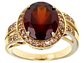 Pre-Owned Red hessonite 18k yellow gold over sterling silver ring